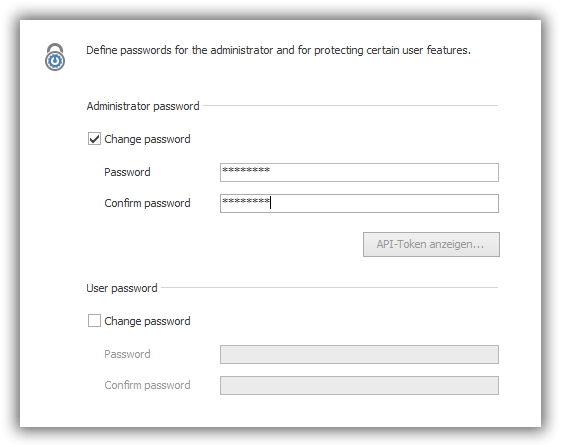Screenshot: Password protection